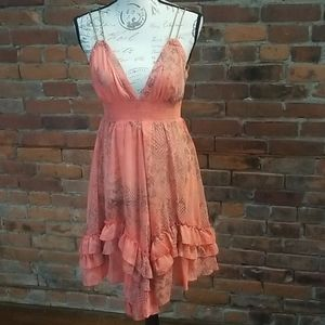 Arden B coral baby doll dress small NWT